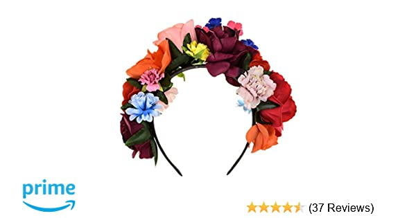 Amazon.com  DreamLily Frida Kahlo Mexican Flower Crown Floral Headband  Party Costume Day of The Dead Headpiece NC12 (Mexican Crown)  Clothing a12895c61b2