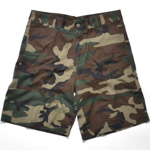 - Rothco Men's Vintage 5 Pocket Flat Front Shorts, Woodland Camo, 30