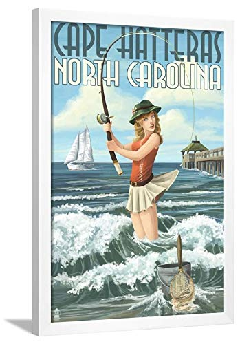 ArtEdge Cape Hatteras, North Carolina-Surf Fishing Pinup Girl White Framed Wall Art Print, 32x24 in (Cape Hatteras Surf)