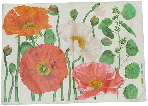 Renkalik RenkalikQSIPM004M 50 x 70 cm Big Poppy Silk Print Paper Maxi Sheet - Poppy Mulberry