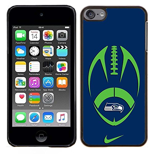 iPod Touch 5 Case, iPod Touch 6 Cases, Seahawks Logo 05 Drop Protection Never Fade Anti Slip Scratchproof Black Hard Plastic Case