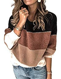 Women's Sweaters Casual Long Sleeve Crewneck Color Block Patchwork Pullover Knit Sweater Tops