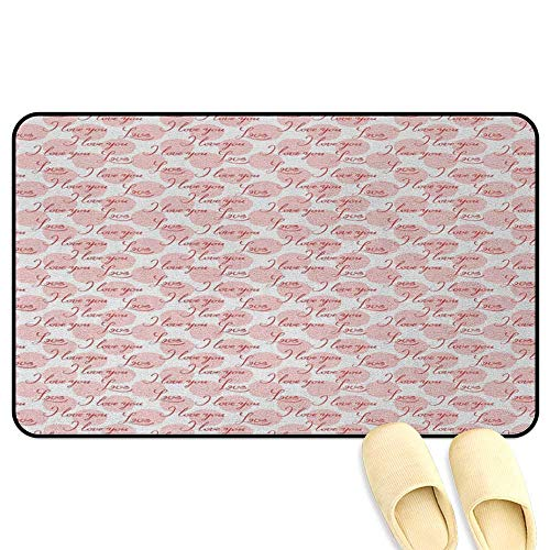 - homecoco I Love You Bath Mat Non Slip Stylized Hand Lettering Love Expressing Phrase on Big Pastel Color Spots Blush Red White 3D Digital Printing Mat W47 x L59 INCH