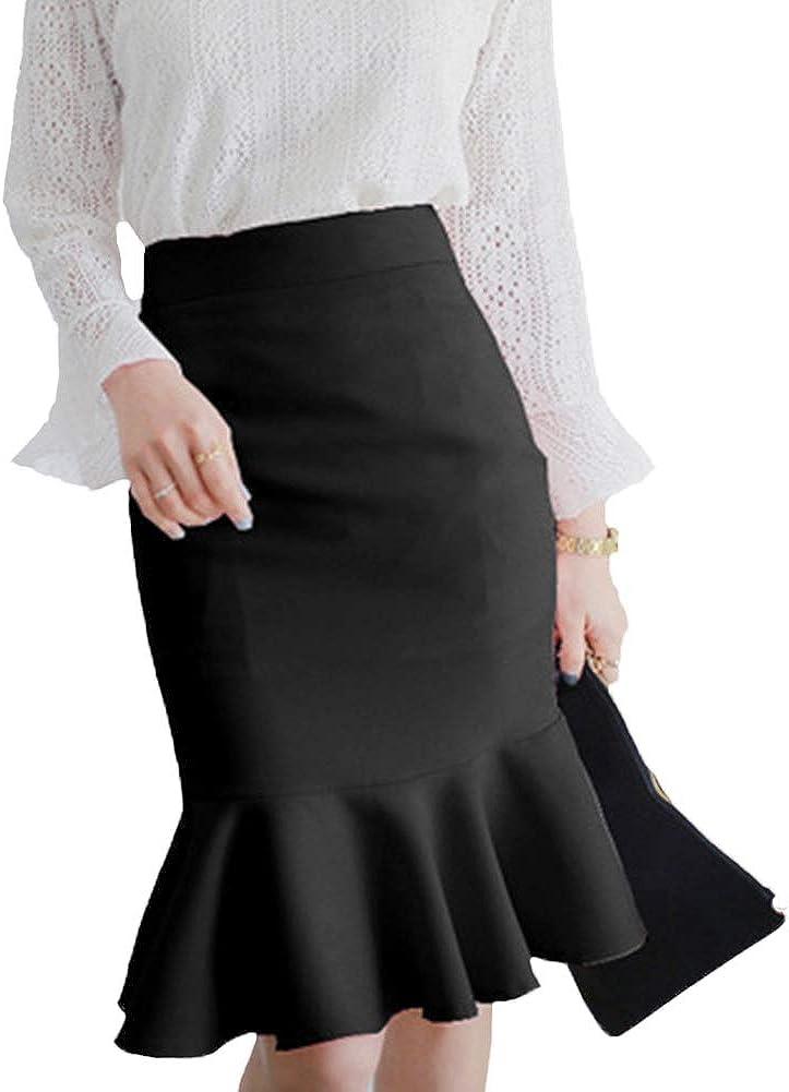 Moollyfox Mujer Tejer Midi Plisada Falda A Line Cintura Alta ...