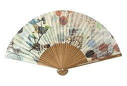 Fine & Folded Folding Hand Fan - by artist Judy Paul, Audubon (JPA) with Beautiful Magnetic Carrying Case