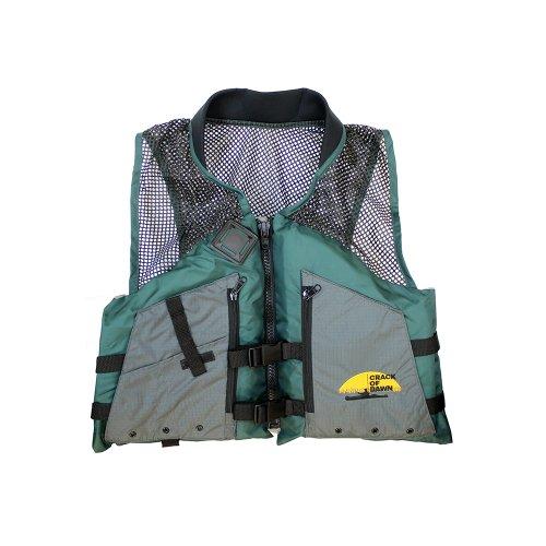 Crack of Dawn Paddle Sports Malibu Kayaks Adult Fishing Life Vest, Green/Black/Grey, X-Large