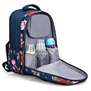 NiceEbag Baby Diaper Bag Backpack Multi-function Large Capacity Stylish Nappy Bag With Changing Pad and Insulated Bag - Flowers