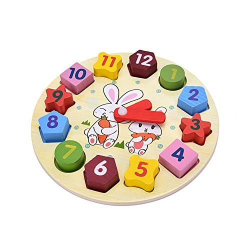 Shape of wooden clock building blocks toys for children Education toys Digital Geometry Clock kid toys