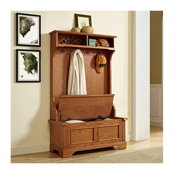 Pemberly Row Hall Tree in Oak - Finish: Oak Materials: Hardwood and Veneer Solid Hardwood & Wood Veneer Construction - hall-trees, entryway-furniture-decor, entryway-laundry-room - 51nqq5fkx7L. SS570  -