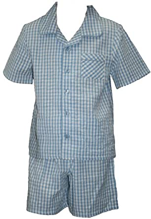 Ex Store Boys Blue Check Cotton Short Pyjamas 12-18 Months: Amazon ...