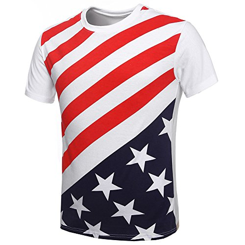 My Wonderful World Men's Cotton T-shirt USA Flag Striped Short-sleeved Vest White 4XLarge (Charlie Sheen Bowling Shirts Sale)