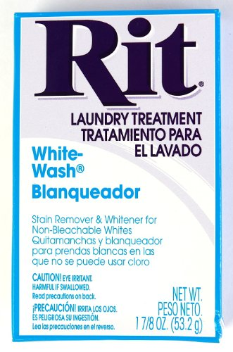 Rit Dye Laundry Treatment White-wash Stain Remover and Whitener Powder, 1-7/8 oz, White, 3-Pack (Wash Dye)