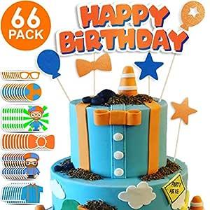 Blippi Party Supplies - Blippi Cake Toppers + 60 Free ...
