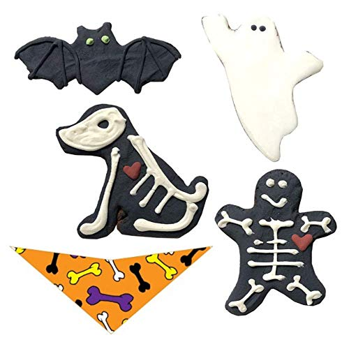 Artisan Dog Biscuits Natural Halloween Dog Biscuit Treats with Halloween Doggy Bandana – Bat, Ghost, Skelledog…