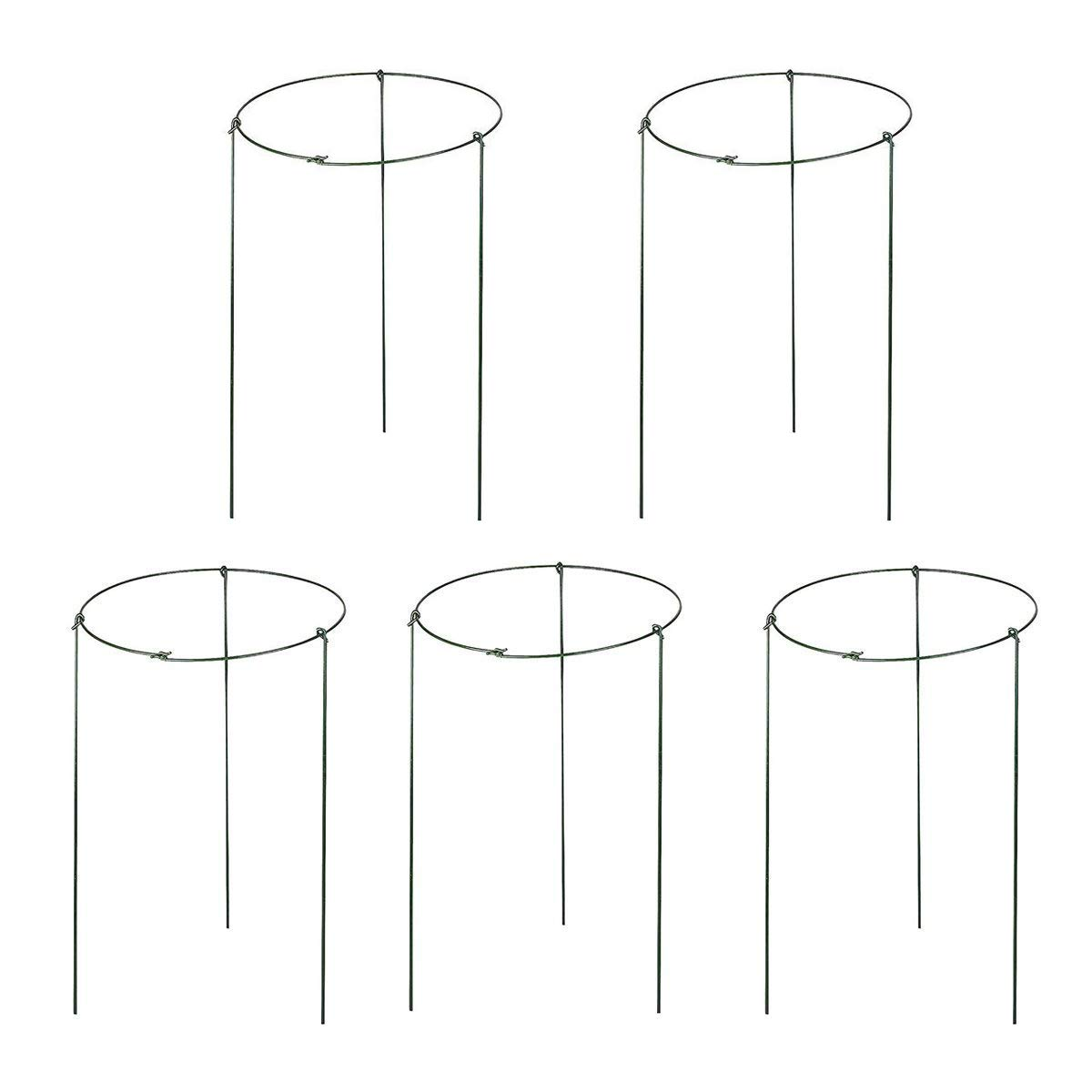"""Hanobo 5 Pack Garden Plant Support Rings for Potted Plant, 6"""" Wide x 11"""" High, 3 Legs"""