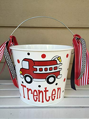 Personalized Halloween trick or treat bucket - Fire Truck/Engine design to match your child's fire fighter costume -