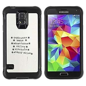 LASTONE PHONE CASE / Suave Silicona Caso Carcasa de Caucho Funda para Samsung Galaxy S5 SM-G900 / Typewriter Paper Adventure Text Stars
