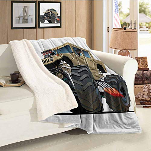 Cars Sherpa Blanket Extremely Large Giant Monster Pickup Truck with Huge with Oversized Tires Race Illustration Multi Soft Blanket Microfiber Throw Size