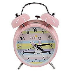 CLARA Vintage Classic Candy Color Lovely Rabbit Time Alarm Metal Mute Non-ticking Clock(Pink)
