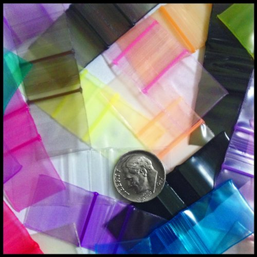 "3434 Apple Mini Ziplock Baggies Over 17 Colors Mix 100 Bags 3/4"" X 3/4"" TINY"