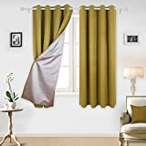 yellow insulated grommet curtains - Deconovo CT0577D-1 Thermal Insulated Blackout Backside Silver Window Treatments Curtains Set for Boys Room