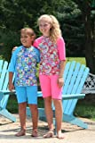 Maximum UV protective short sleeve Rash Guards in child size 6/7. Disco Daisy-Pink. Made in the USA. Sold direct from Manufacturer. Shorts not included.