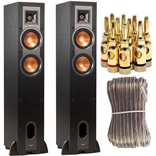 Klipsch R-24F Dual 4.5-inch Floorstanding Two Speaker Bundle includes Two R-24F Speakers, 16 Gauge 100 ft Heavy Duty Speaker Wire and Brass Speaker Banana Plugs, 5-Pair, Open Screw Type by Klipsch