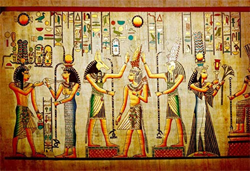 LFEEY 15x10ft Old Egypt Papyrus Backdrop Coloring Wall Mural Ancient Egyptian Pharaoh Photography Background Parchment Vintage Painting Antique Hieroglyphs King Queen Vinyl Banner Photo Studio Props ()