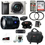 Sony ILCE6000L/S ILCE6000LS ILCE-6000LS Alpha A6000 Mirrorless Digital Camera with 16-50mm Lens (Silver) + Sony SEL1670Z E-mount 16-70mm F4 ZA OSS + 32GB Memory Card + Battery + Accessory Kit