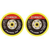 CASOMAN 5-Inch DA Polisher & Sander Pad - Hook & Loop Face - Random Orbital Backing Plate, 5/16'-24 Threads, 2 PCS Set
