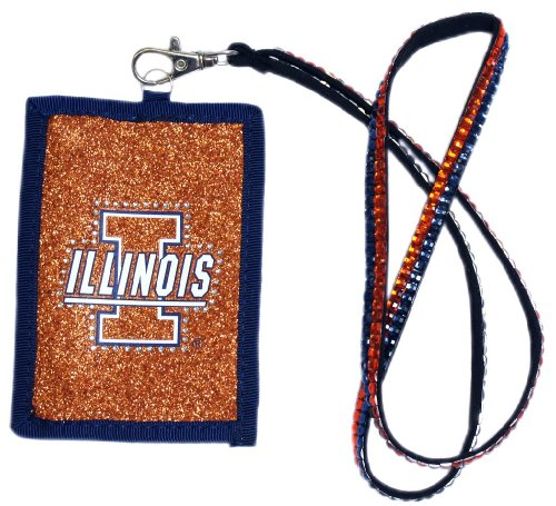 NCAA Illinois Fighting Illini Beaded Lanyard with Nylon Wallet