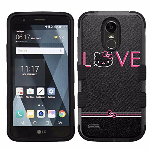 for LG Stylo 3 (LS777), Hard+Rubber Dual Layer Hybrid Heavy-Duty Rugged Armor Cover Case - Hello Kitty #Love