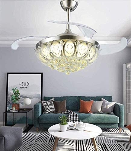 Sweety House 42 Crystal Ceiling Fan Chandelier Remote Control Invisible Telescopic Fan Blade, Adjustable 3 Speed And LED Light Silent Motor Fan Light Kitfor bedroom and living room silver