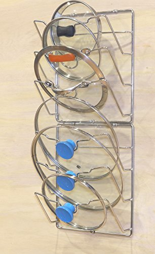 2 Pack - SimpleHouseware Cabinet Door/Wall Mount Pot Lid Organizer Rack, Chrome by Simple Houseware (Image #2)