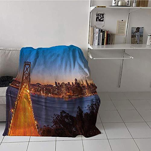 Khaki home Children's Blanket Microfiber All Season Blanket (30 by 50 Inch,Apartment Decor Collection,Bay Bridge San Francisco California USA Historical Urban Engineering Landmark Print,Blue Orange