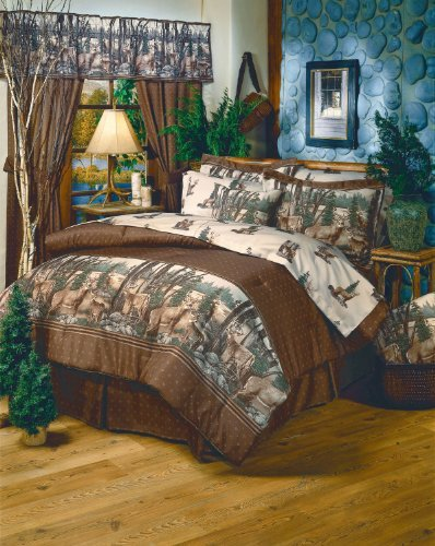 Whitetail Dreams - Deer Print - 8 Pc Queen Comforter Set (Comforter, 1 Flat Sheet, 1 Fitted Sheet, 2 Pillow Cases, 2 Shams, 1 Bedskirt) SAVE BIG ON BUNDLING! by Kimlor by Kimlor