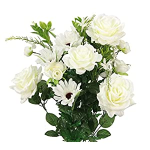 Admired By Nature GPB6428-CREAM Faux Rose G. Daisy Ranunculus Mixed Flower Bush, cm 8