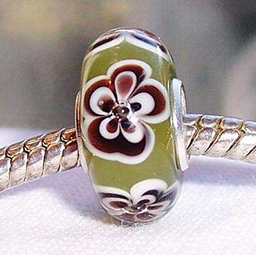 Olive Green Brown Flowers Single Core Murano Glass Bead for European Bracelets id-2545