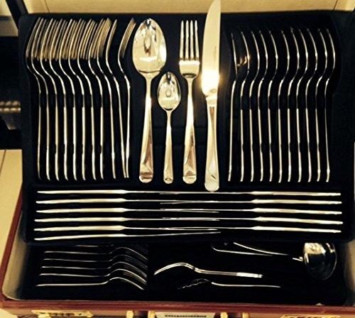 Besteck-Set Tafelbesteck 72-teilig im eleganten Koffer - Gabel Messer Löffel Teelöffel Kuchengabel uvm. - Milumi Edition
