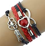 Sankuwen 1pc Cyber Monday Promotion, Infinity Love Heart Pearl Friendship Antique Leather Charm Bracelet (Black+Red)