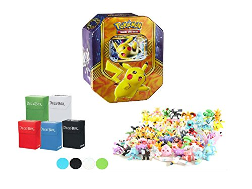 Pokemon Pikachu EX Tin + Deck Box + 6 Mini Figures