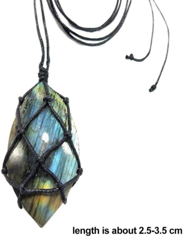SDJH Collar de labradorita Collar de Trenza Colgante de Piedra Natural Collar de Yoga macramé para Hombres Mujeres Collar de energía, como en la Imagen