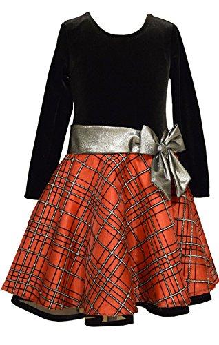 Holiday Dresses Kids - Bonnie Jean Stretch Velvet To Glitter