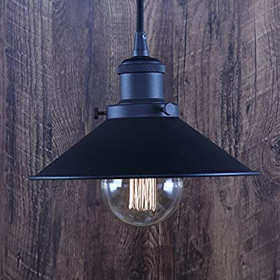 XIDING Premium Vintage Industrial Edison Style Pendant Light Fixture?Retro Upgrade Black Finish Metal Shade Hanging Light, E26 Base?Adjustable Wire?1-Light