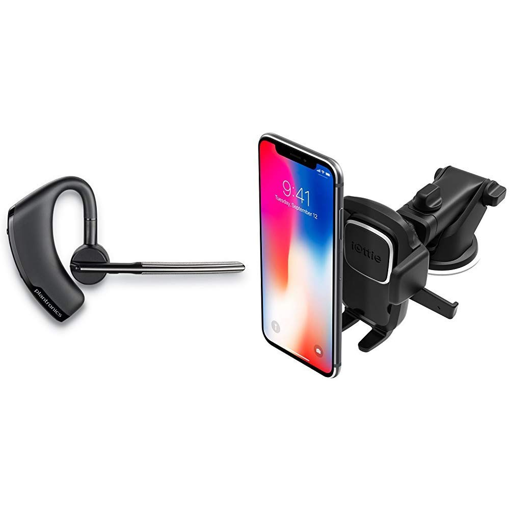 Plantronics Voyager Legend Wireless Bluetooth Headset - Black- Frustration Free Packaging & iOttie Easy One Touch 4 Dash & Windshield Car Mount Phone Holder || for iPhone by Plantronics