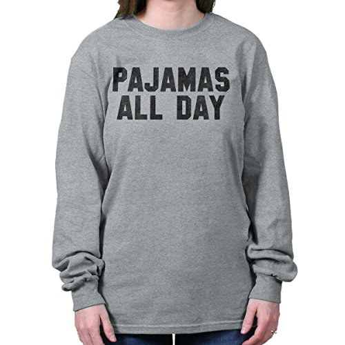 Sleeve Tee Long Sleep (Brisco Brands Pajamas All Day Funny Shirt | PJ Clothes Night Nap Sleep YOLO Long Sleeve Tee)