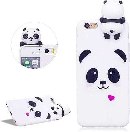 DasKAn Coque Compatible avec iPhone 6 / 6S 4.7'', 3D Panda Silicone Housse de Protection Ultra Fine Souple Gel TPU Étui de Téléphone, Blanc#1