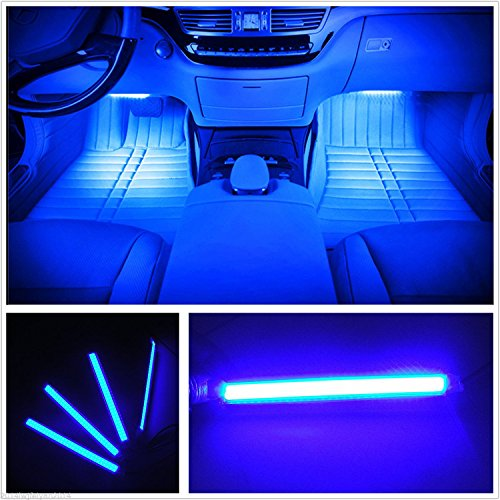 Car LED Strip Light, EJ's SUPER CAR 4pcs 36 LED Car Interior Lights Under Dash Lighting Waterproof Kit,Atmosphere Neon Lights Strip for Car,DC 12V(Blue)