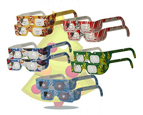 Children's Christmas Glasses - Holiday Eyes (TM) - 10 Pairs - all 5 Styles - Christmas Tree, Snowflake, Snowman, Reindeer and Santa
