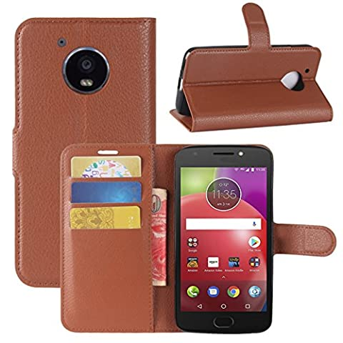 Moto E4 Case, Fettion Premium PU Leather Wallet Flip Phone Protective Case Cover with Card Slots and Magnetic Closure for Motorola Moto E4 / Moto E (4th Generation) Smartphone (Wallet - - Brown Phone
